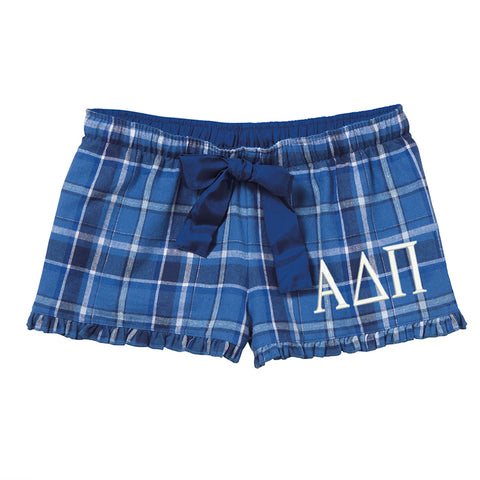 Alpha Delta Pi Flannel Boxer Shorts - Plaid