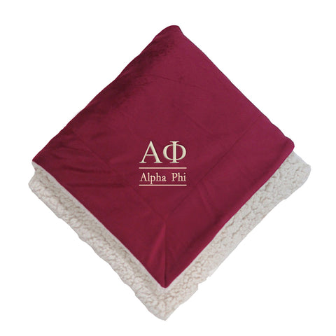 Alpha Phi Sherpa Throw Blanket