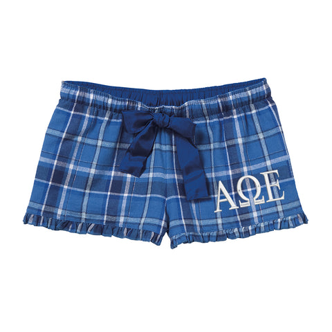 Alpha Omega Epsilon Flannel Boxer Shorts - Plaid