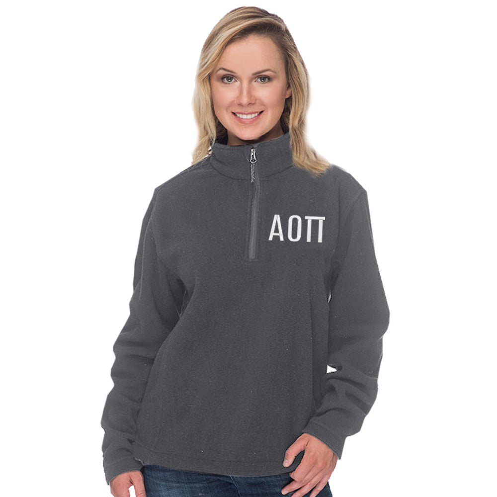 Alpha Omicron Pi Quarter Zip Fleece Pullover