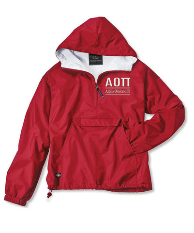Alpha Omicron Pi Classic Solid Pullover Windbreaker - Lined