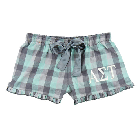 Alpha Sigma Tau Flannel Boxer Shorts - Plaid