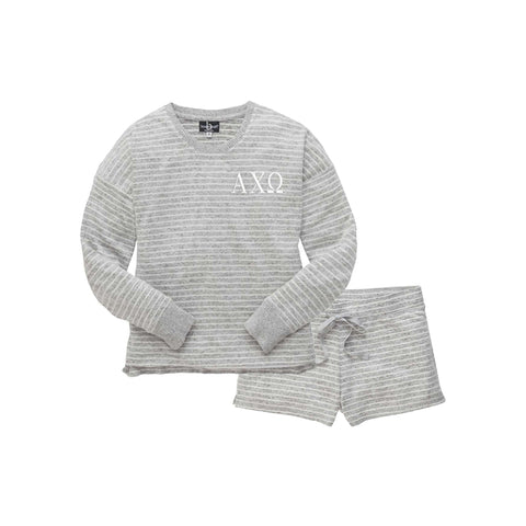 Alpha Chi Omega Cuddle Boxer and Crewneck Pj Set