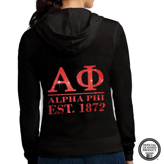 Alpha Phi Glitter Zip Up