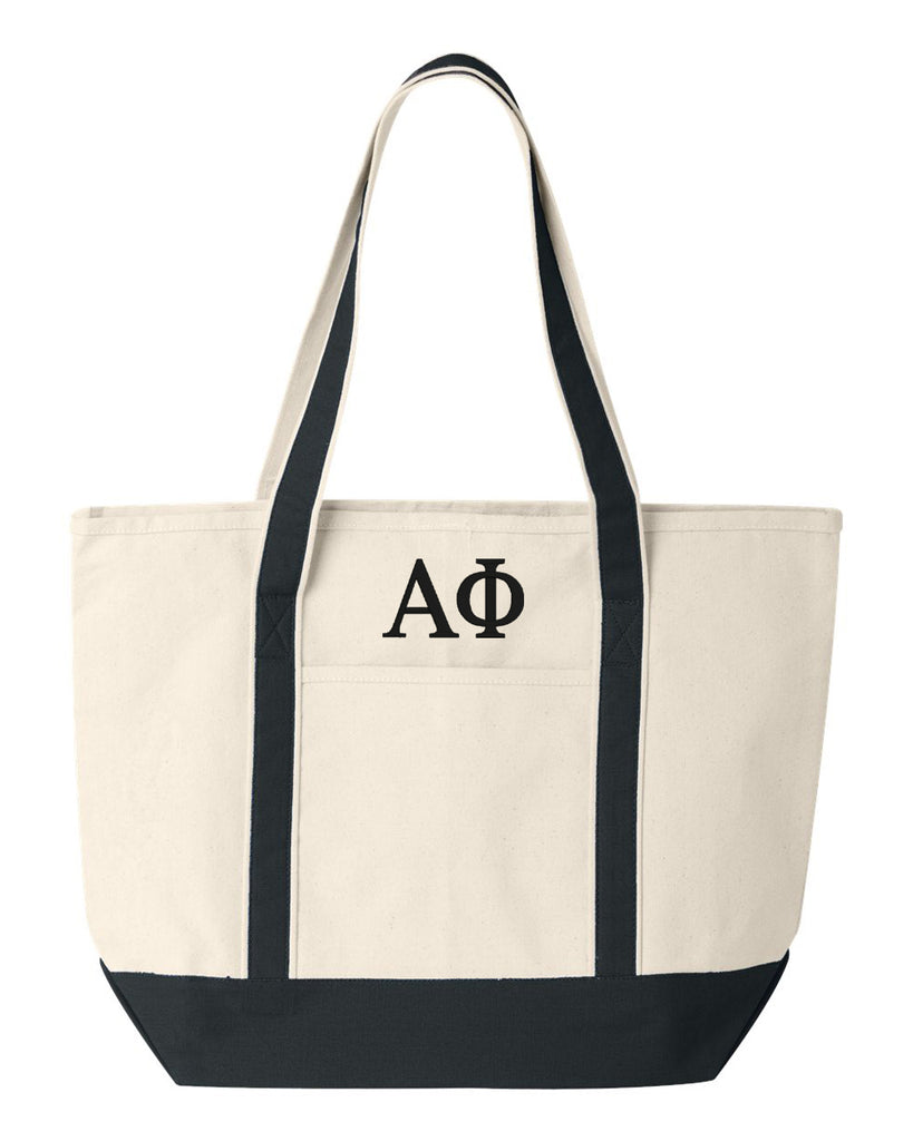 Alpha Phi Large Canvas Tote Bag