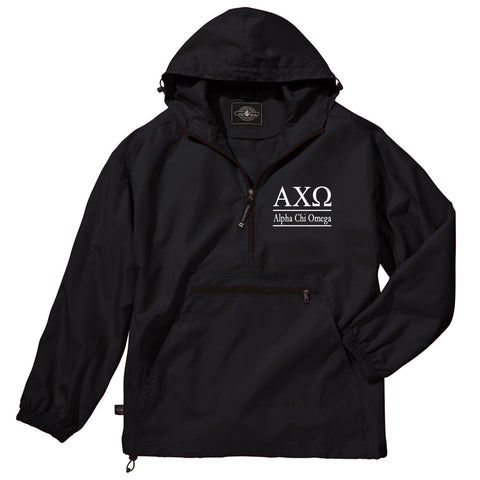 Alpha Chi Omega Classic Solid Lightweight Pullover Windbreaker, A Chi O Jacket, ACHIO Windbreaker