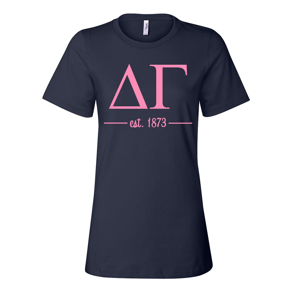 Delta Gamma Women's Relaxed Fit Short Sleeve Jersey Tee - Navy and Pink