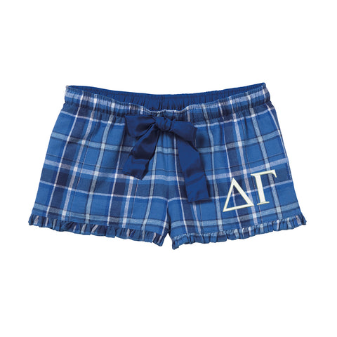 Delta Gamma Flannel Boxer Shorts - Plaid