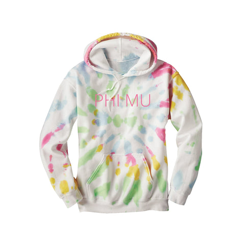 Phi Mu Tie Dye Hooded Sweatshirt