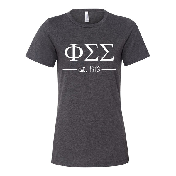Phi Sigma Sigma Women's Relaxed Fit Short Sleeve Jersey Tee