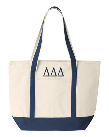 Delta Delta Delta Large Canvas Tote Bag