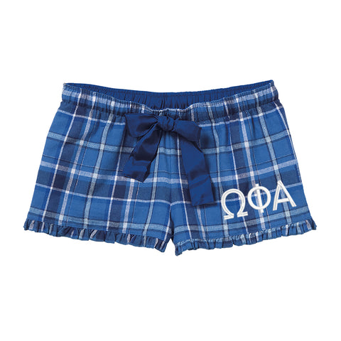 Omega Phi Alpha Flannel Boxer Shorts - Plaid