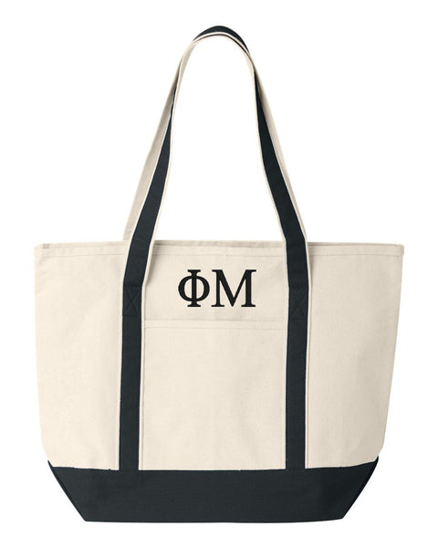 Phi Mu Large Canvas Tote Bag