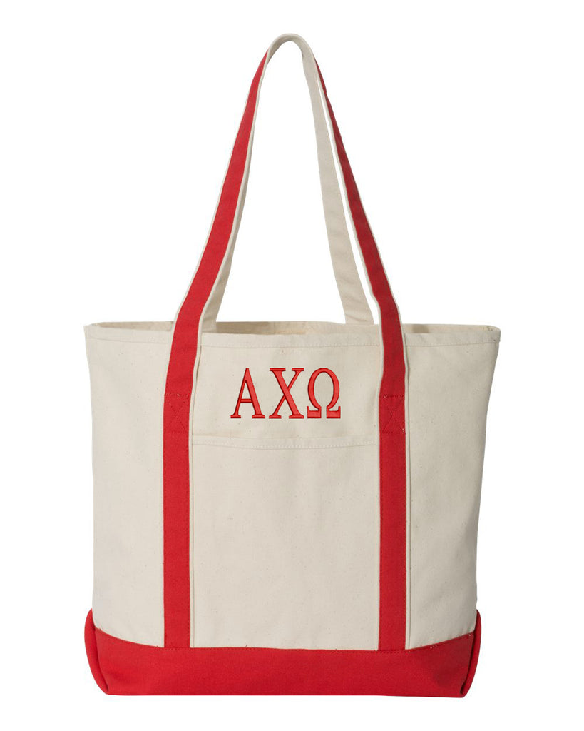 Alpha Chi Omega Large Canvas Tote Bag