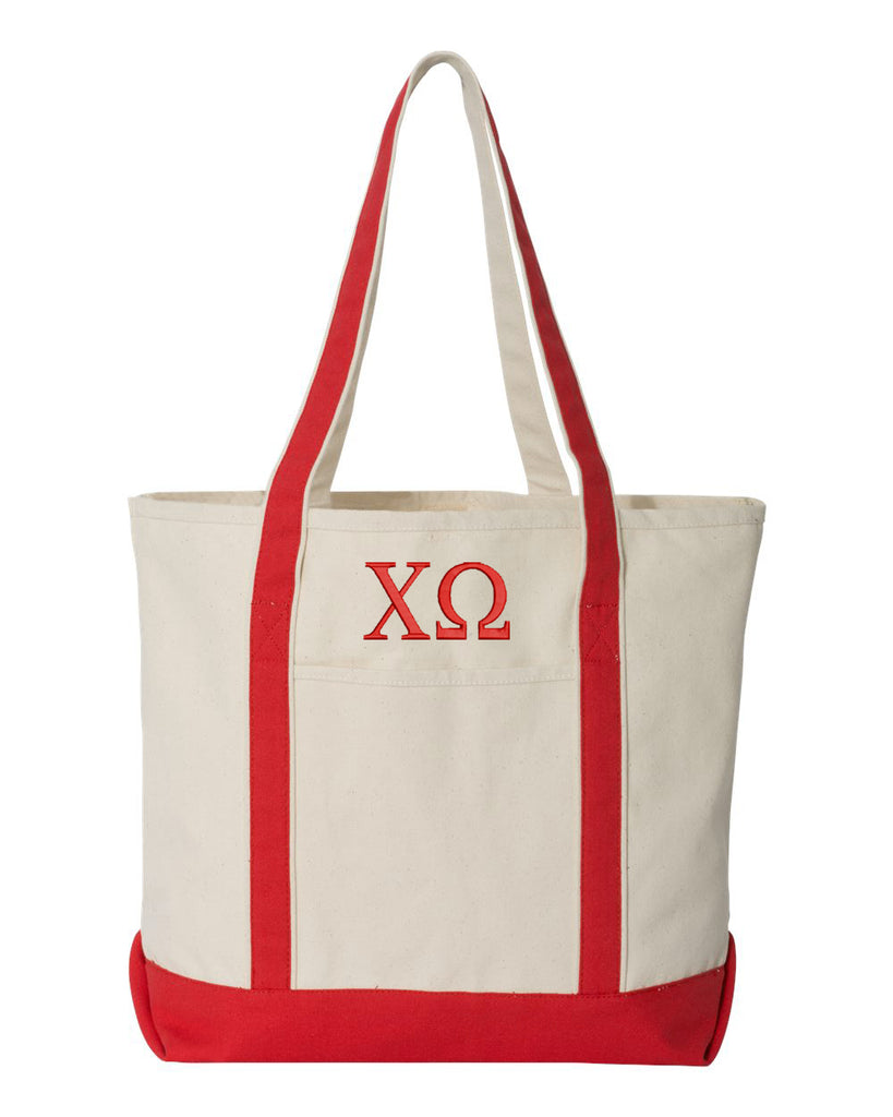 Chi Omega Large Canvas Tote Bag