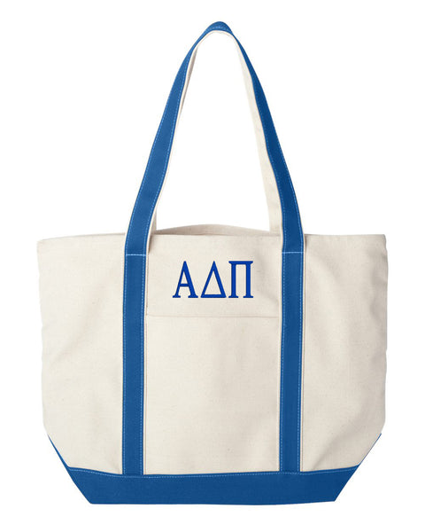 Alpha Delta Pi Large Canvas Tote Bag