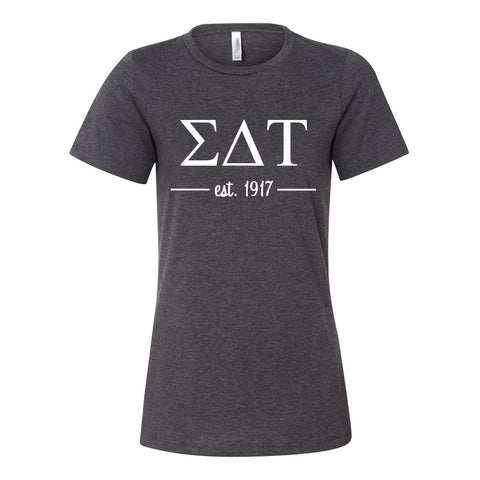 Sigma Delta Tau Women's Relaxed Fit Short Sleeve Jersey Tee