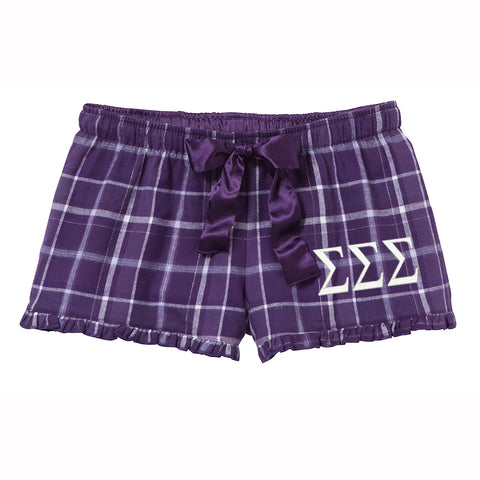Sigma Sigma Sigma Flannel Boxer Shorts - Plaid
