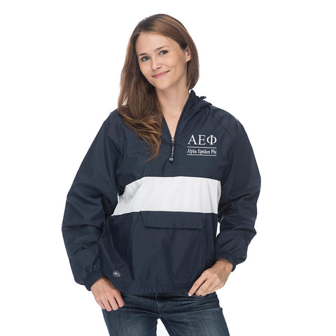 Alpha Epsilon Phi Classic Striped Windbreaker - Lined