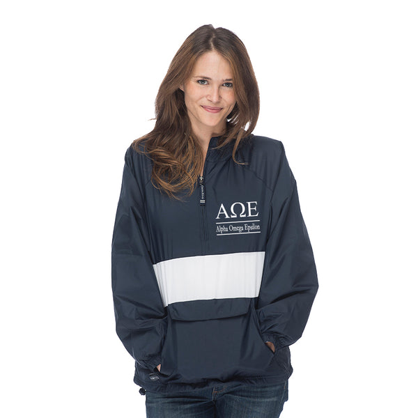 Alpha Omega Epsilon Classic Striped Windbreaker - Lined