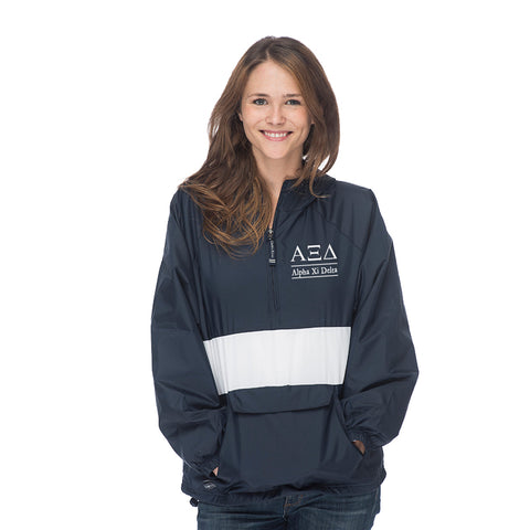 Alpha Xi Delta Classic Striped Windbreaker - Lined