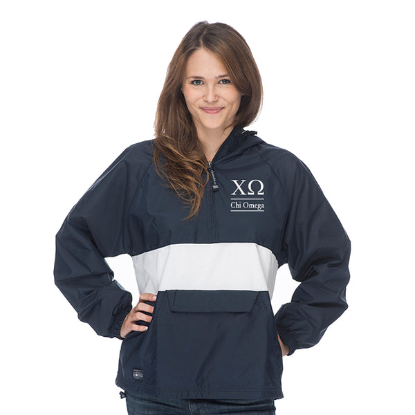 Chi Omega Classic Striped Windbreaker - Lined