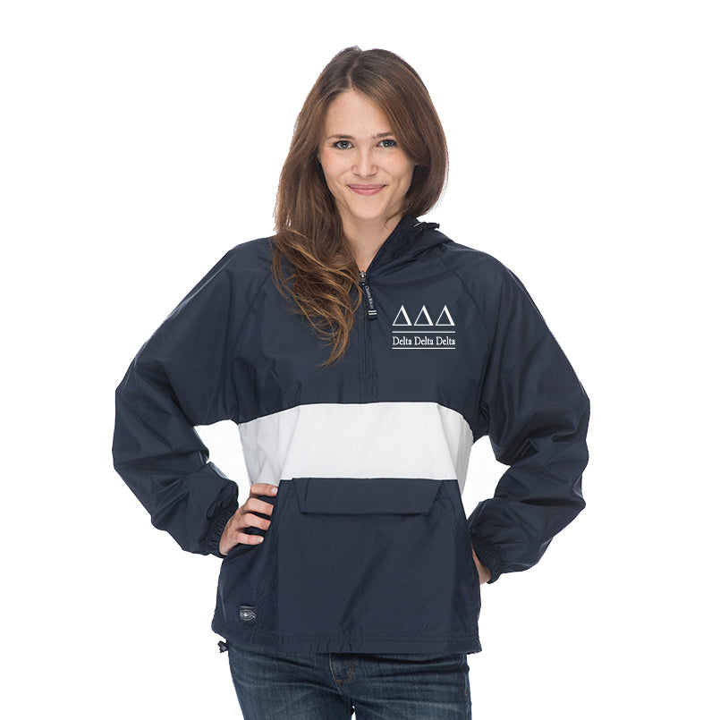 Delta Delta Delta Classic Striped Windbreaker - Lined