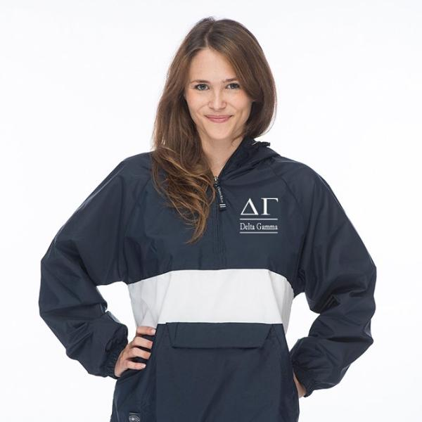 Delta Gamma Classic Striped Windbreaker - Lined