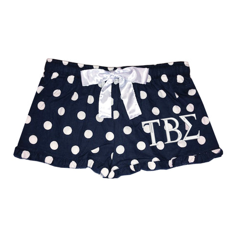 Tau Beta Sigma Flannel Boxer Shorts - Polka Dot