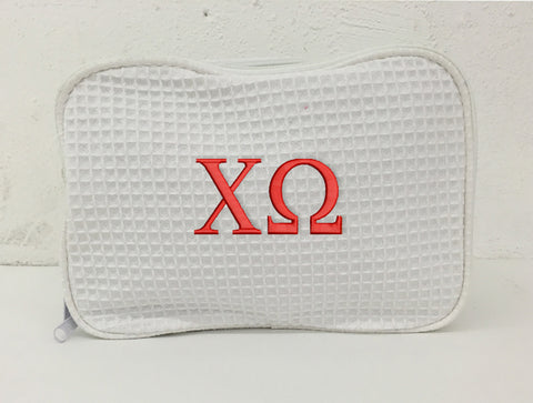 Chi Omega Waffle Weave Cosmetic Bag