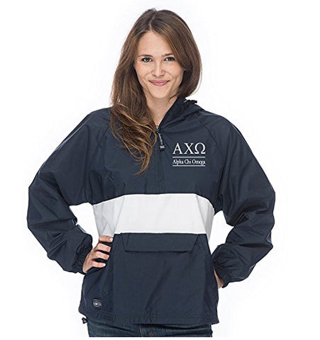 Alpha Chi Omega Classic Striped Windbreaker - Lined