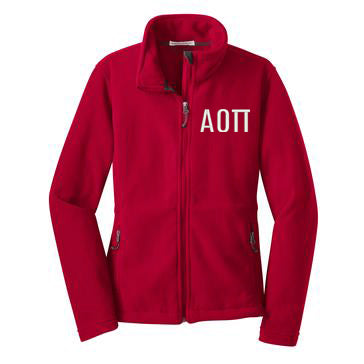 Alpha Omicron Pi Fleece Zip Cadet Jacket