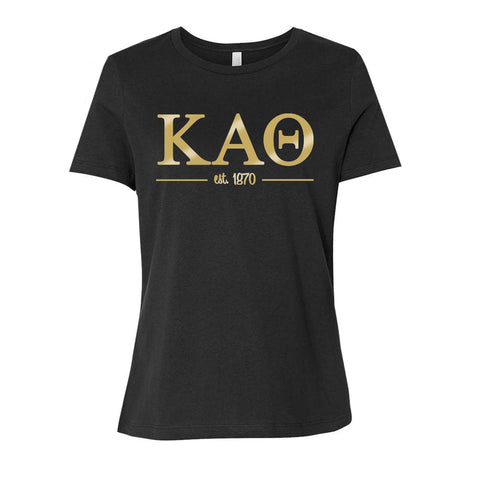 Kappa Alpha Theta Women's Relaxed Fit Short Sleeve Jersey Tee - Black and Gold