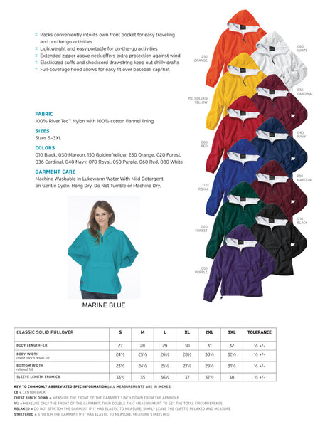 Alpha Phi Classic Solid Pullover Windbreaker - Lined