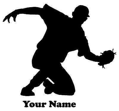 Baseball Player Baseman Vinyl Decal  - Name Customizable Decal