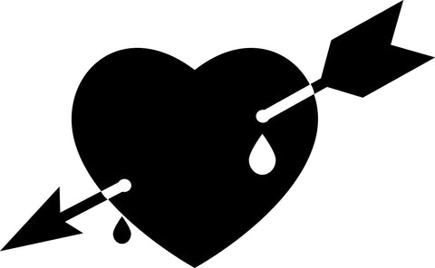 Arrow Through Heart vinyl decal