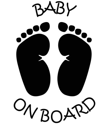 BABY ON BOARD With Feet vinyl decal sign sticker