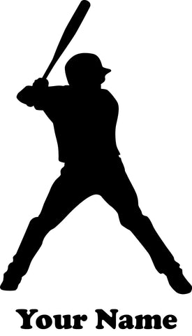 Baseball Player Batter Vinyl Decal  - Name Customizable Decal