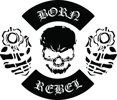 BORN REBEL skull vinyl decal sticker