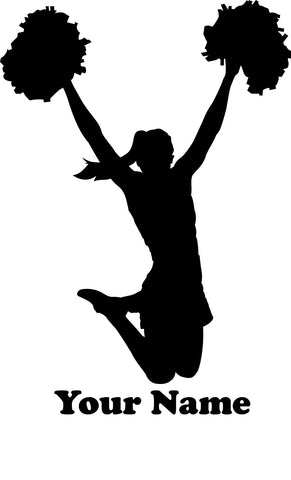 Cheerleader vinyl decal - Name Customizable