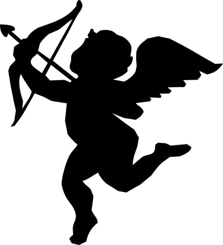 Flying Cupid with Bow and Arrow vinyl decal sticker