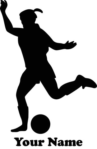 Female Soccer Player Kicking Vinyl Decal - Customizable Name