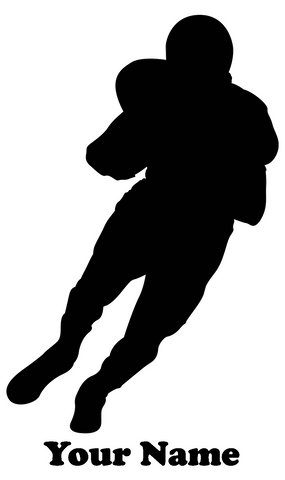 Football Player Charging vinyl decal - Name Customizable