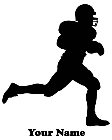 Football Player Running vinyl decal - Name Customizable