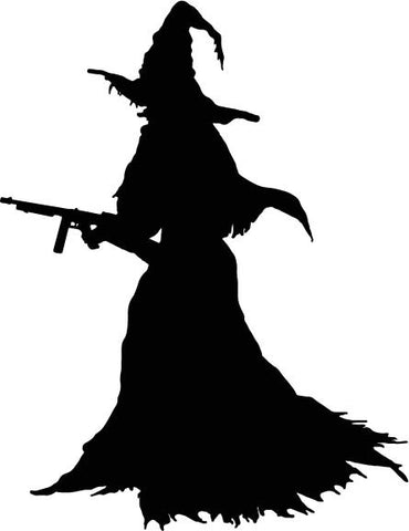 Armed Gun Witch vinyl decal car sticker
