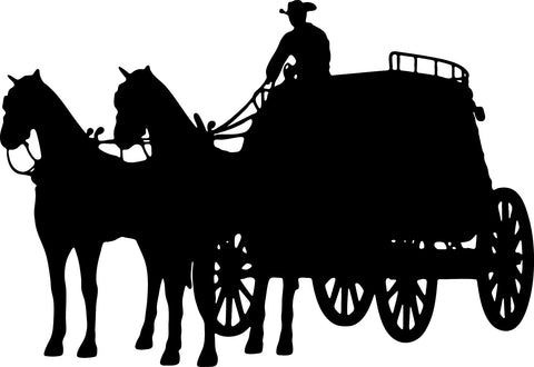 Old West Stage Coach Driving vinyl decal