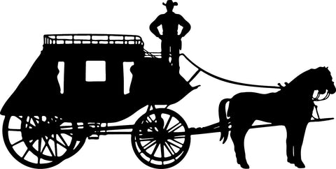 Old West Stage Coach with Cowboy vinyl decal