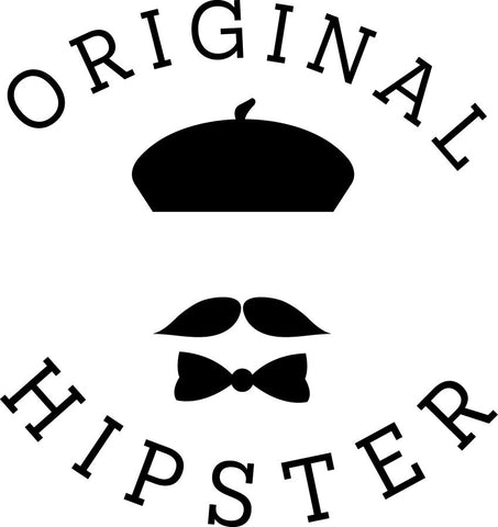 ORIGINAL HIPSTER -  Hat, mustache, and bow tie vinyl decal