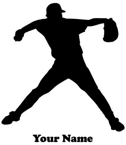 Baseball Player Pitcher Vinyl Decal  - Name Customizable Decal