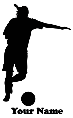 Female Soccer Player Vinyl Decal - Customizable Name